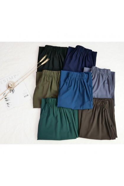 AMOREE Plus Size Plain Plazo Muslimah Musse Crepe Fit XL ~ 4XL ( 4661 )