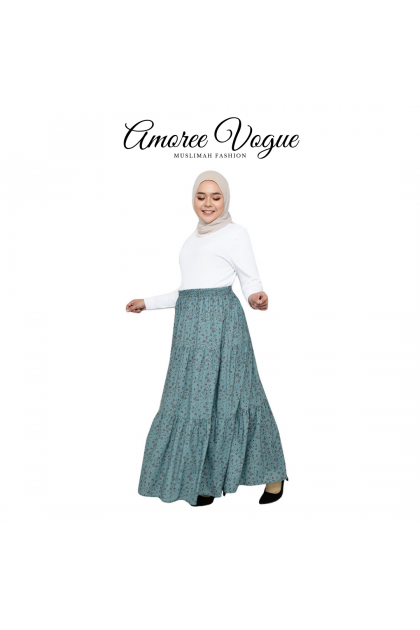 Amoree Layer Floral Silk Crepe Skirt Plus Size fit S to 3XL (30069-3-4)