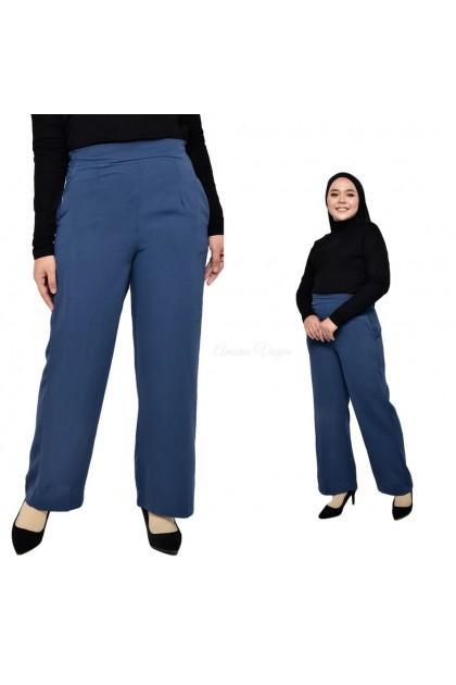 4701 Amoree Plain Zip Palazo Muslimah Moss Crepe  fit 24~30/S-L Baju Muslimah